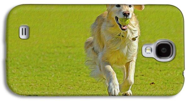 Golden Retriever Running On A Green Galaxy S4 Case by Rona Schwarz