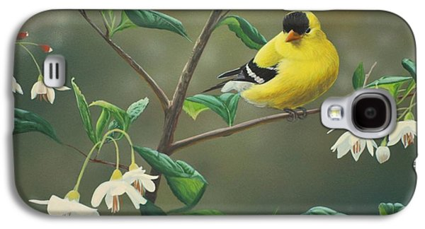 Finch Galaxy S4 Case - Goldfinch And Snowbells by Peter Mathios