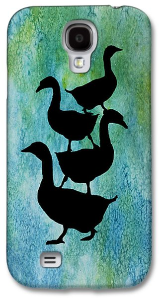 Goose Pile On Aqua Galaxy S4 Case by Jenny Armitage