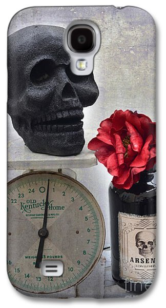 Gothic Fantasy Spooky Halloween Black Skull And Arsenic Bottle With Rose Galaxy S4 Case by Kathy Fornal