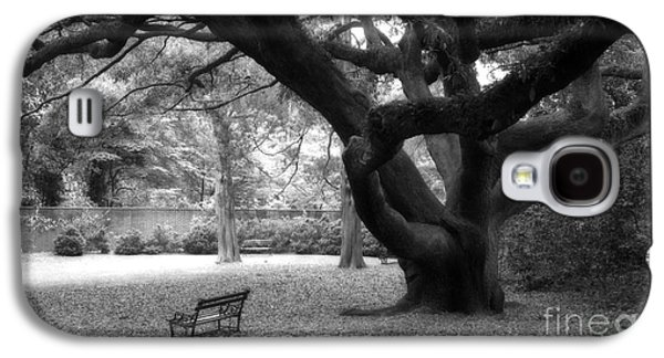 Gothic Surreal Black And White South Carolina Angel Oak Trees Park Landscape Galaxy S4 Case by Kathy Fornal