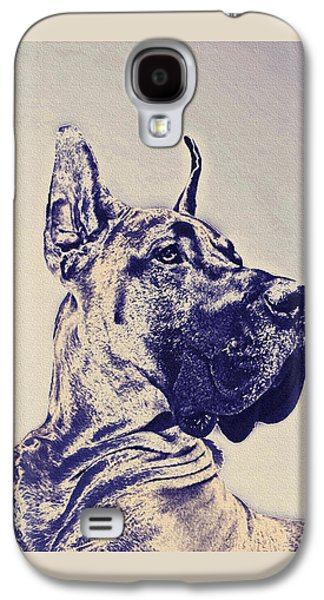Great Dane- Blue Sketch Galaxy S4 Case by Jane Schnetlage