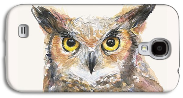 Great Horned Owl Watercolor Galaxy S4 Case by Olga Shvartsur