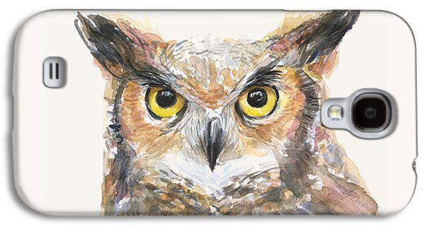 Great Horned Owl Watercolor Galaxy S4 Case