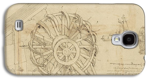 Great Sling Rotating On Horizontal Plane Great Wheel And Crossbows Devices From Atlantic Codex Galaxy S4 Case by Leonardo Da Vinci