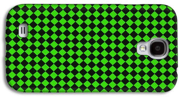 Green And Black Checkered Pattern Cloth Background Galaxy S4 Case by Keith Webber Jr