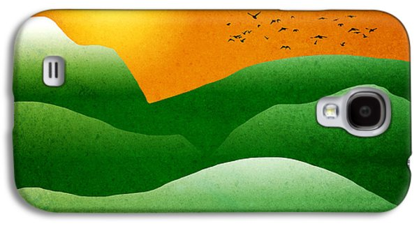 Green Mountain Sunrise Landscape Art Galaxy S4 Case by Christina Rollo
