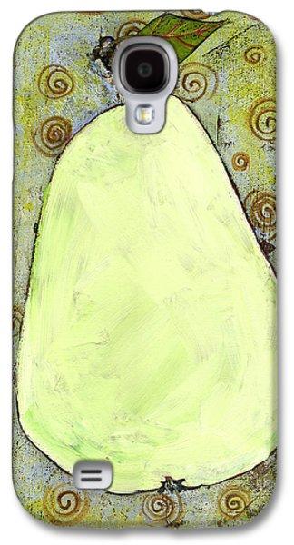Green Pear Art With Swirls Galaxy S4 Case by Blenda Studio