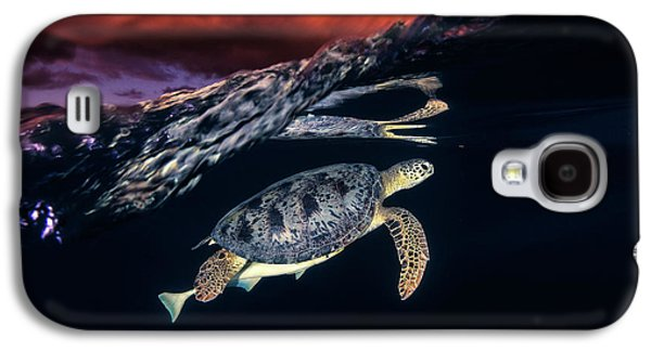 Travel Galaxy S4 Case - Green Turtle And Sunset - Sea Turtle by Barathieu Gabriel