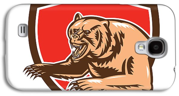 Grizzly Bear Angry Shield Retro Galaxy S4 Case by Aloysius Patrimonio