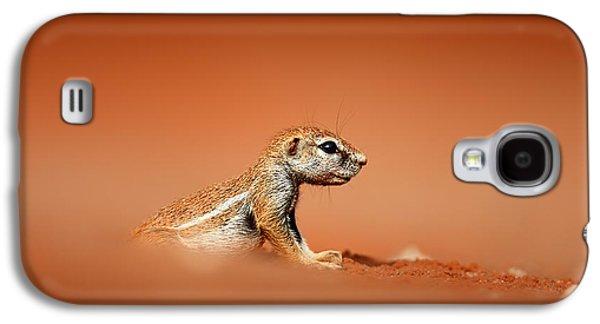 Squirrel Galaxy S4 Case - Ground Squirrel On Red Desert Sand by Johan Swanepoel