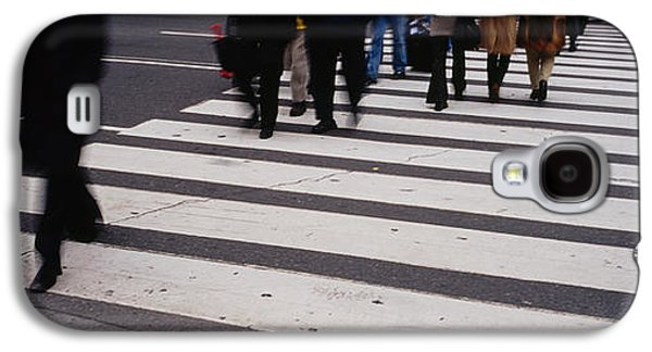Group Of People Crossing At A Zebra Galaxy S4 Case by Panoramic Images