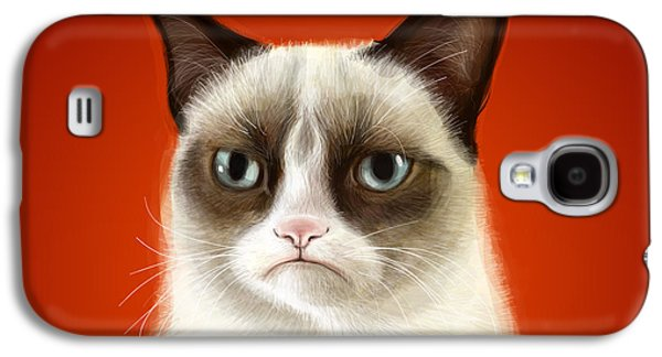 Cat Galaxy S4 Case - Grumpy Cat by Olga Shvartsur