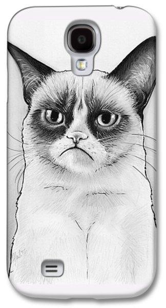 Cat Galaxy S4 Case - Grumpy Cat Portrait by Olga Shvartsur