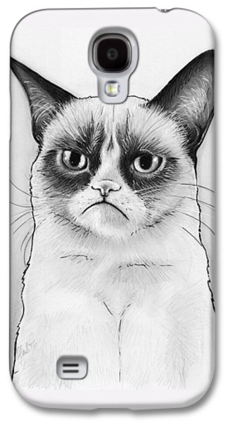 Cat Galaxy S4 Case - Grumpy Cat Portrait by Olga Shvartsur