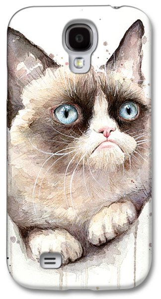 Grumpy Cat Watercolor Galaxy S4 Case by Olga Shvartsur