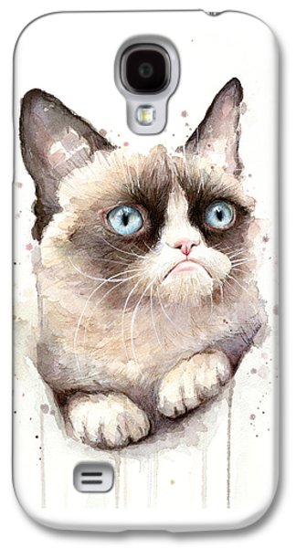 Cat Galaxy S4 Case - Grumpy Cat Watercolor by Olga Shvartsur