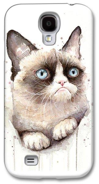 Grumpy Cat Watercolor Galaxy S4 Case by Olga Shvartsur