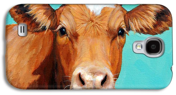 Cow Galaxy S4 Case - Guernsey Cow On Light Teal No Horns by Dottie Dracos