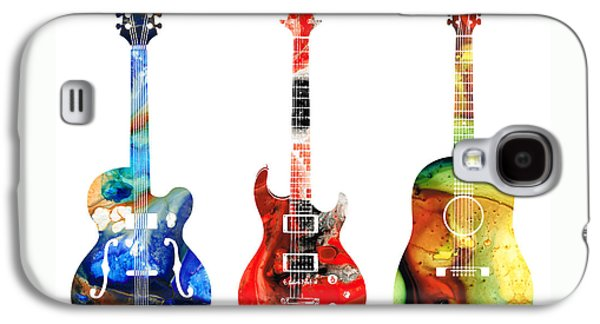 Guitar Threesome - Colorful Guitars By Sharon Cummings Galaxy S4 Case by Sharon Cummings