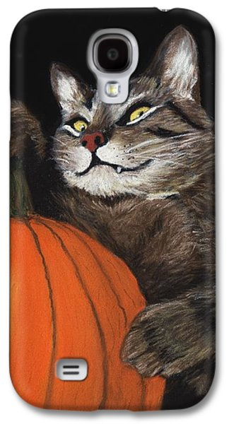Galaxy S4 Case featuring the painting Halloween Cat by Anastasiya Malakhova