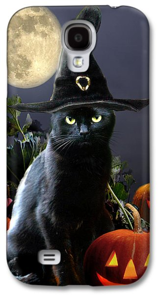 Witchy Black Halloween Cat Galaxy S4 Case