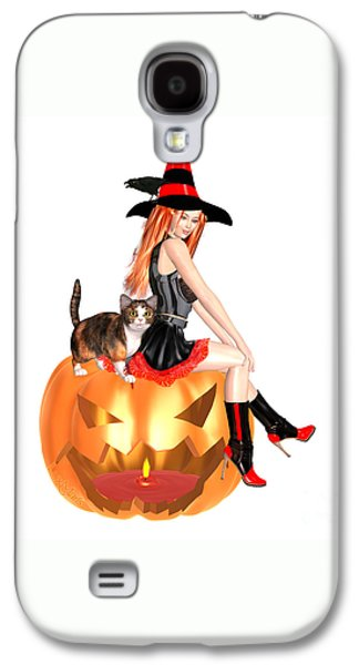 Halloween Witch Nicki With Kitten Galaxy S4 Case by Renate Janssen