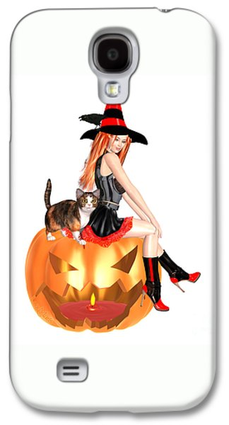 Halloween Witch Nicki With Kitten Galaxy S4 Case by Renate Janssen