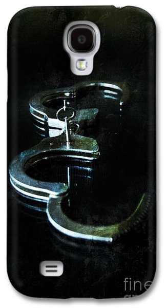 Handcuffs On Black Galaxy S4 Case