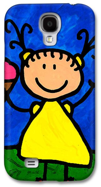 Happi Arte 3 - Little Girl Ice Cream Cone Art Galaxy S4 Case by Sharon Cummings