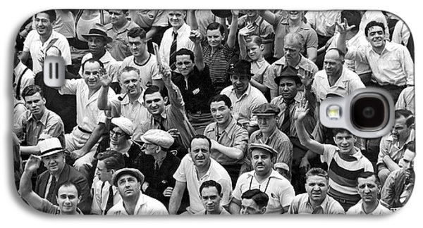 Happy Baseball Fans In The Bleachers At Yankee Stadium. Galaxy S4 Case by Underwood Archives