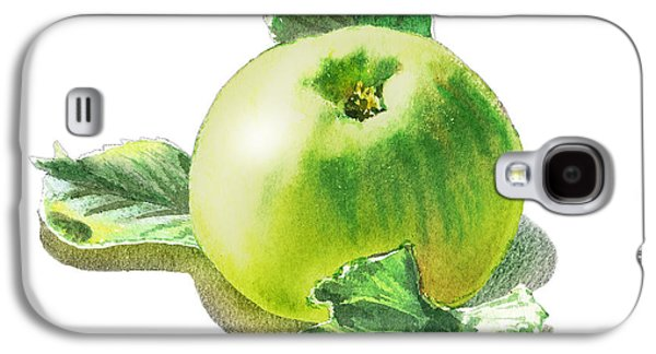 Galaxy S4 Case featuring the painting Happy Green Apple by Irina Sztukowski
