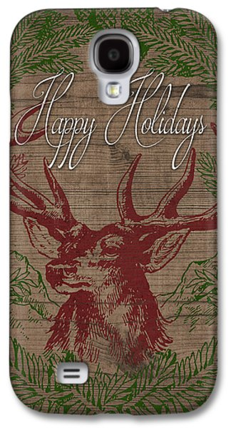 Happy Holidays Deer Galaxy S4 Case by South Social Studio