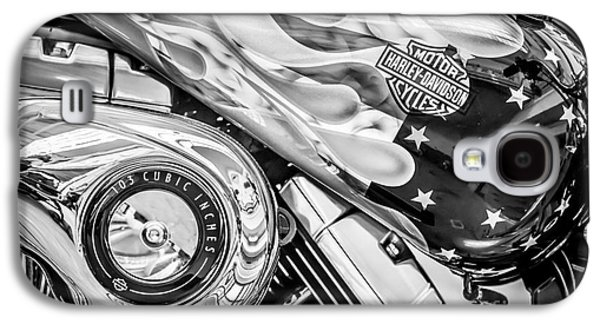 Harley Davidson Motorcycle Stars And Stripes Fuel Tank - Black And White Galaxy S4 Case by Ian Monk