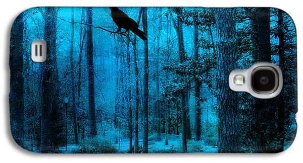 Haunting Dark Blue Surreal Woodlands With Crow  Galaxy S4 Case by Kathy Fornal