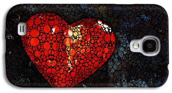 Heart - Stone Rock'd Art By Sharon Cummings Galaxy S4 Case by Sharon Cummings