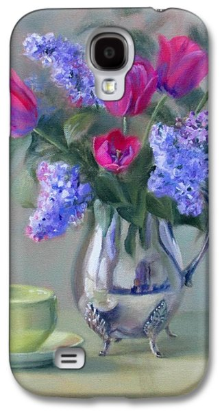 Heirlooms- Lilacs And Tulips In A Silver Pitcher Galaxy S4 Case by Bonnie Mason
