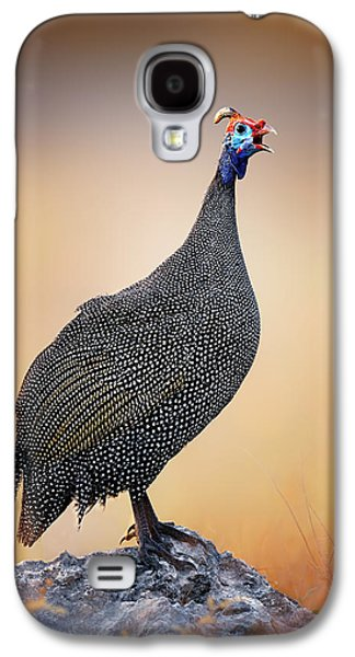 Helmeted Guinea-fowl Perched On A Rock Galaxy S4 Case