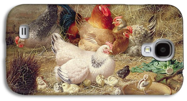 Hens Roosting With Their Chickens Galaxy S4 Case by Eugene Remy Maes