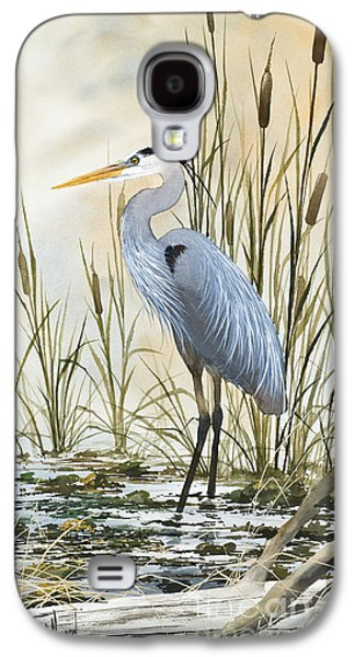 Heron Galaxy S4 Case - Heron And Cattails by James Williamson