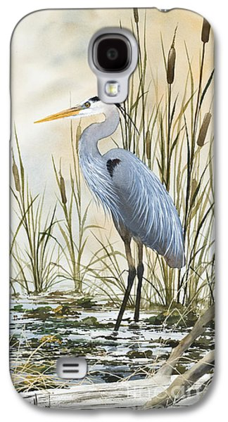 Heron And Cattails Galaxy S4 Case by James Williamson