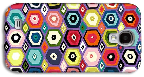 Hex Diamond Purple Galaxy S4 Case by Sharon Turner