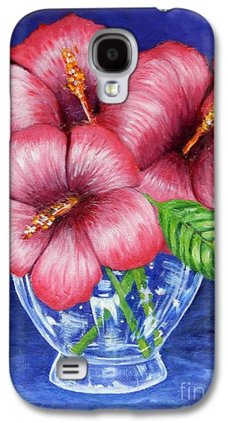 Hibiscus In Glass Vase Galaxy S4 Case by Caroline Street