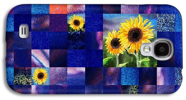 Hidden Sunflowers Squared Abstract Design Galaxy S4 Case