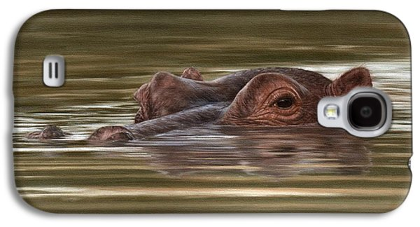 Hippo Painting Galaxy S4 Case by Rachel Stribbling