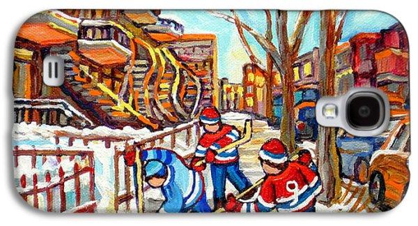 Hockey Game Near Montreal Staircases Winter Scenes Paintings Carole Spandau Galaxy S4 Case by Carole Spandau
