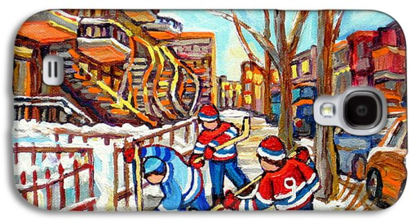 Hockey Game Near Montreal Staircases Winter Scenes Paintings Carole Spandau Galaxy S4 Case