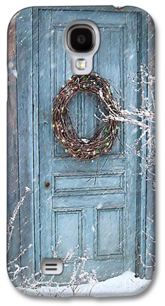 Barn Door And Holiday Wreath/digital Painting Galaxy S4 Case by Sandra Cunningham