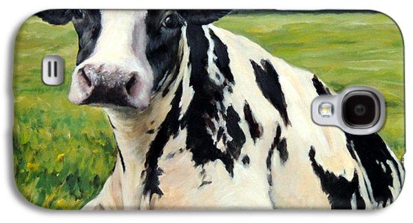 Cow Galaxy S4 Case - Holstein Cow Relaxing In Field by Dottie Dracos