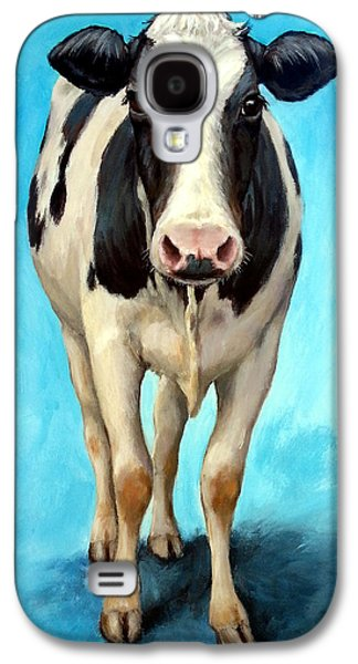 Cow Galaxy S4 Case - Holstein Cow Standing On Turquoise by Dottie Dracos